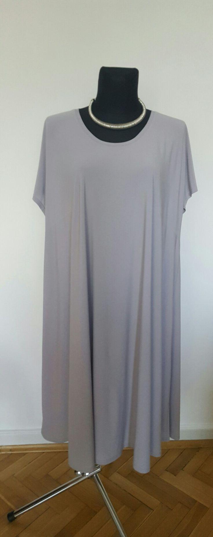 Letnia sukienka plus size szary/ stalowy r 60/62