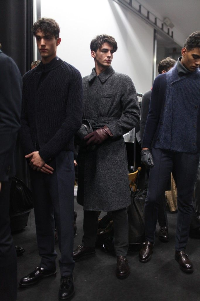 Backstage at Giorgio Armani Men's RTW Fall 2014 [Photo by Kuba Dabrowski]