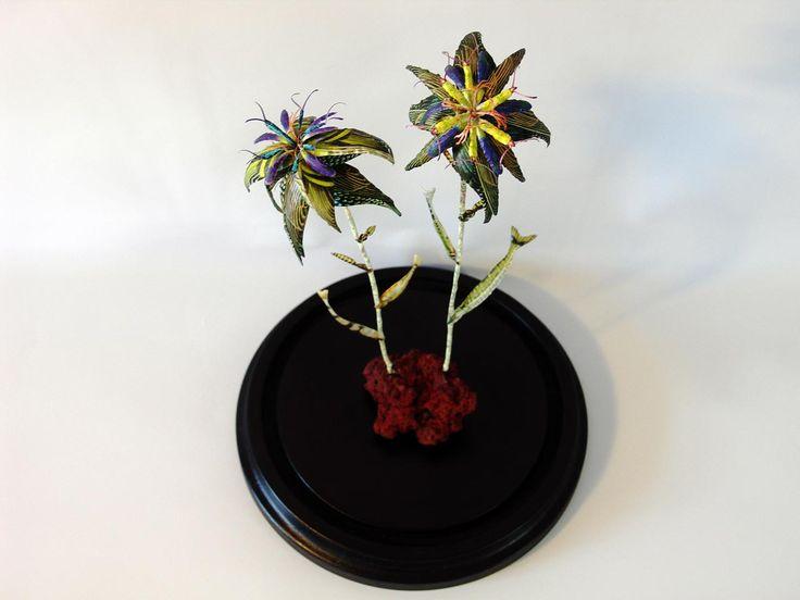 Erupting Flowers, DIA19,5 x H42 cm, in glassdome, 2016 by Iben Toft Nørgård