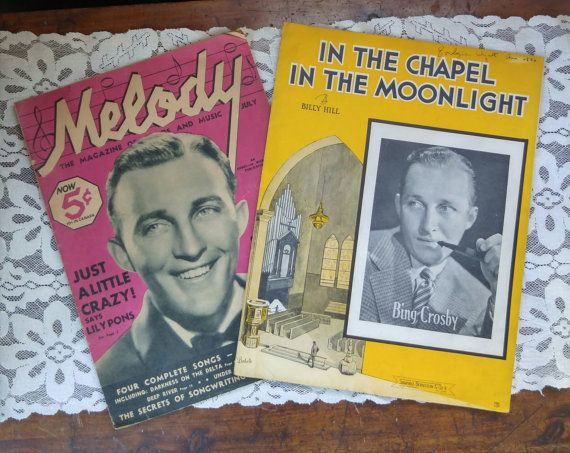 Two Pieces of Vintage Sheet Music Featuring Bing Crosby  In