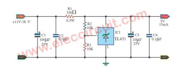 Tl431 Circuit Adjustable Shunt Zener Regulator Eleccircuit Com Circuit Regulators Electronics Projects