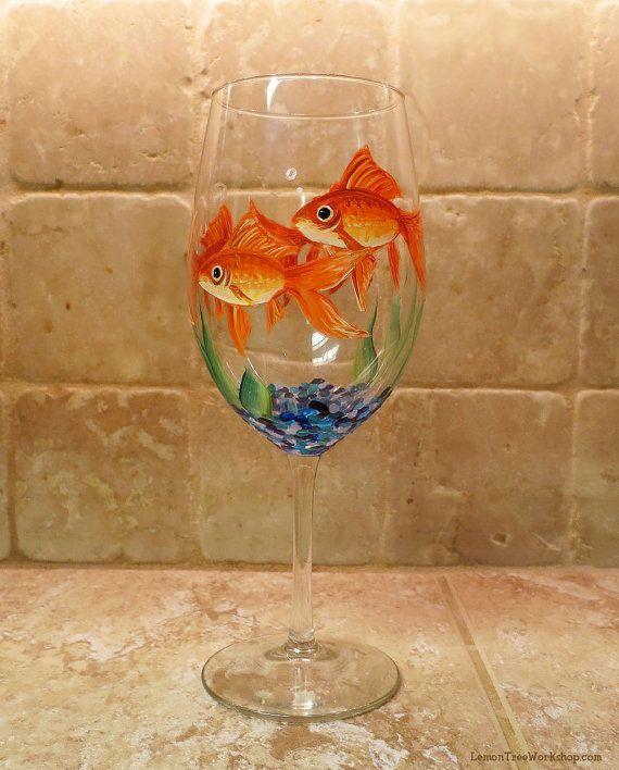 Hand Painted Goldfish Wine Glass Fish Aquarium Stemware
