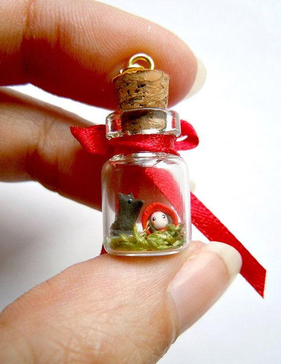 Red Riding Hood pendant  miniature terrarium in by MijbilCreatures, $26.00