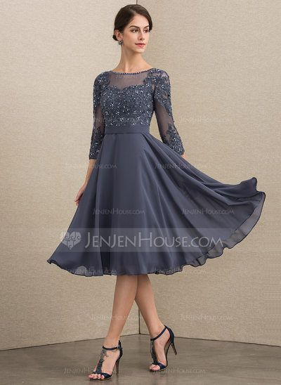[ 149.99] A-Line Scoop Neck Knee-Length Chiffon Mother of the Bride Dress With Beading Sequins (008152149)