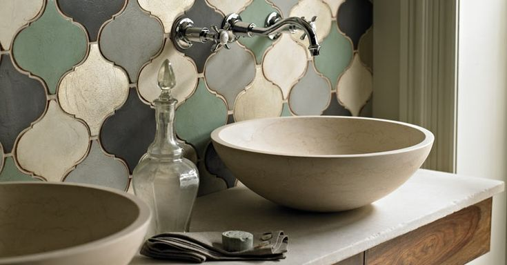 Marrakech Bahia Tiles with the Aegina Stone Basin and Avebury Wall Mounted Vessel Filler from Fired Earth