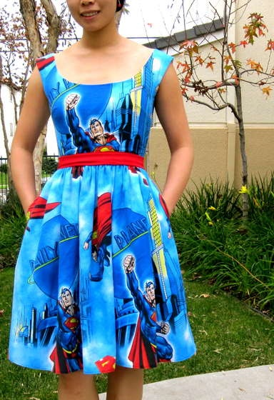 Instructable for a lined dress....I love the superman fabric!