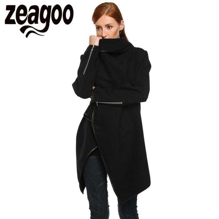 Zeagoo Autumn Winter Women Wool Coat Casual Loose Long Overcoat Trench Coat Woolen Long Outwear Wool Cardigan 4 Colors