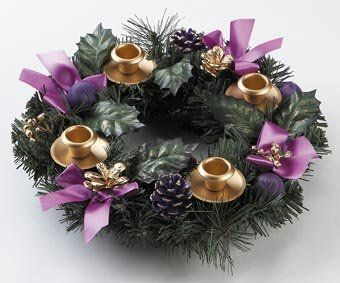 "$22.95-$24.95 Advent Wreath - Purple Ribbon - Purple is the traditional color of the Advent season. This popular design is highlighted with purple ribbons and pine cones. Durable construction measures 11"". Gift Boxed. http://www.amazon.com/dp/B001AYE7UE/?tag=pin2wine-20"