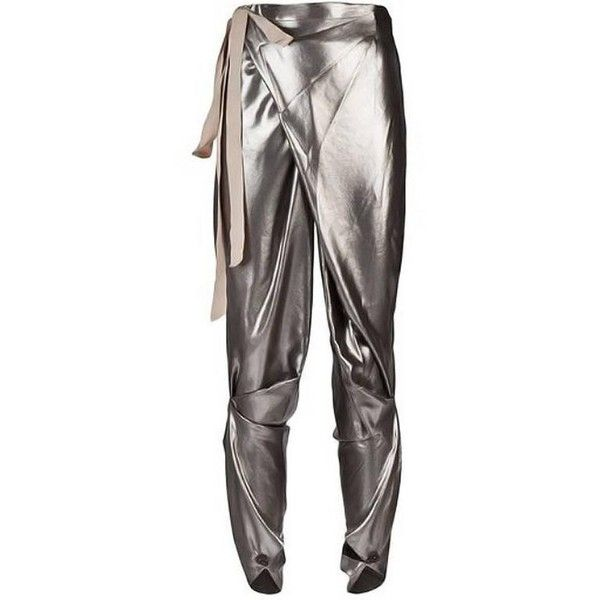 Preowned Thimister Couture Draped Metallic Silver Wrap Harem Pants (3,850 SAR) ❤ liked on Polyvore featuring pants, jodhpur pants, silver, pleated trousers, harem trousers, riding pants, harem pants and sash belt