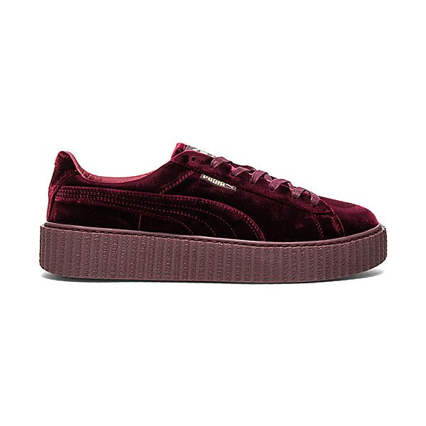 Fenty by Puma Velvet Creepers ($150) ❤ liked on Polyvore featuring men's fashion, men's shoes, men's sneakers, sneakers, mens metallic gold sneakers, mens velvet shoes, mens metallic shoes, puma mens sneakers and mens creeper shoes
