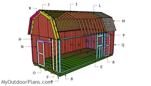This Step By Step Diy Project Is About 12x24 Gambrel Shed Roof Plans This Is Part 2 Of The Free Large Gambrel Shed P Wood Shed Plans Shed Plans Diy Shed Plans