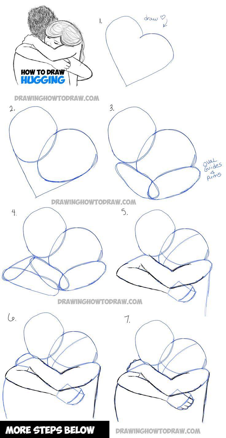 Ein paar Umarmungen zeichnen – zwei Personen umarmen sich in einfachen Schritten