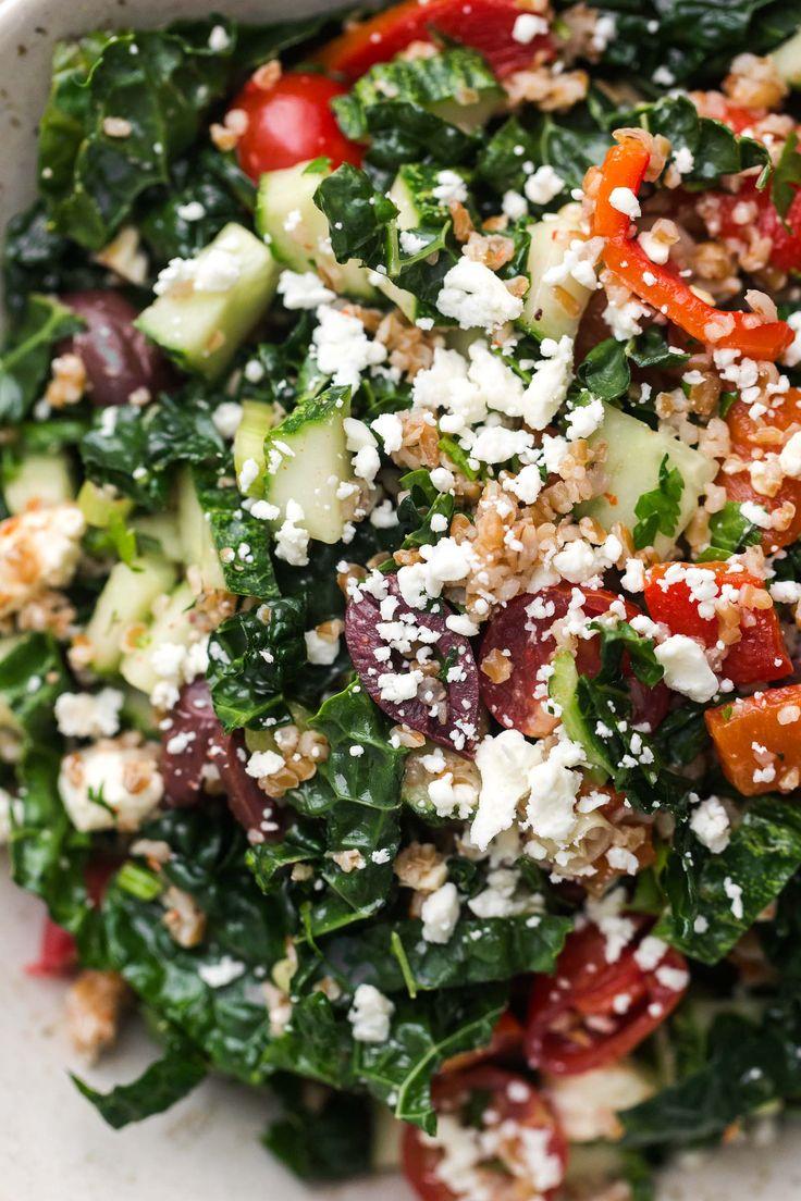 Vegetarian Mediterranean Kale Salad | @naturallyella