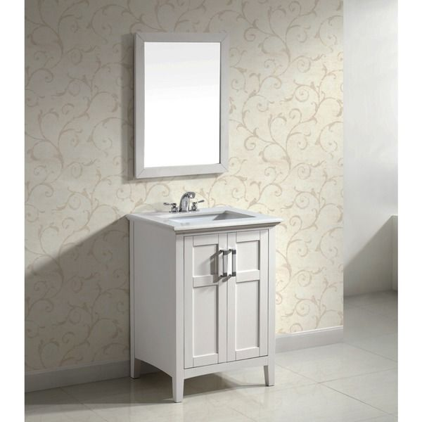 salem white 24inch bath vanity with 2 doors and white quartz marble top