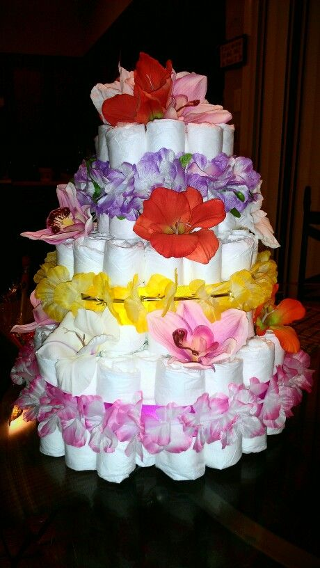 Hawaiian theme baby shower diaper cake