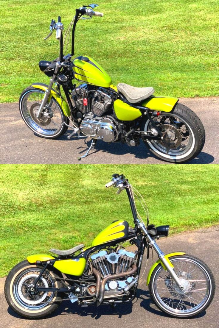 1200cc Engine 7 064 Miles Custom Electric Green Paint Laf Exhaust Pipes Stage 1 Air Clean Ape Hanger Handlebars Harley Davidson Harley Davidson Sportster
