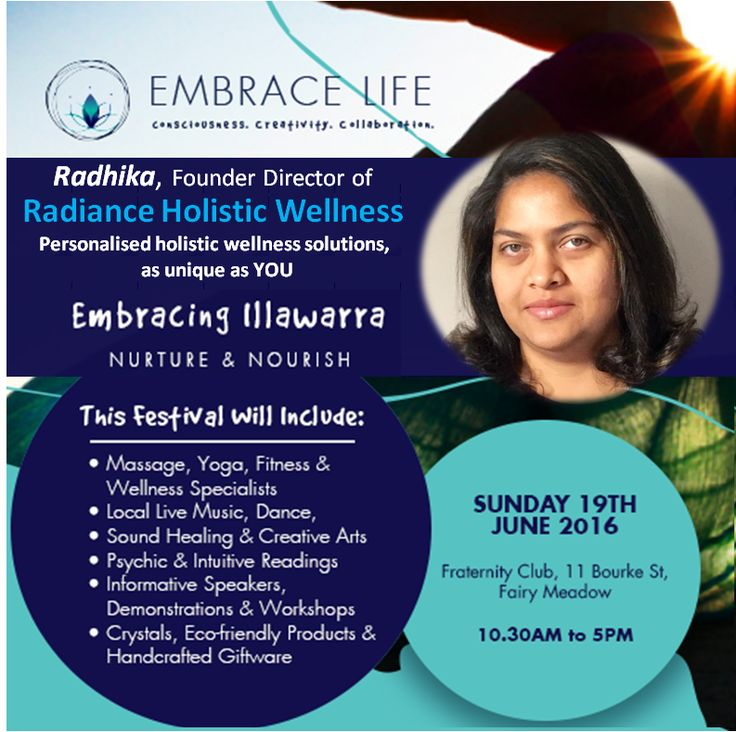 Come visit Radiance Holistic Wellness at the Embrace Life, Live Life's festival event Embracing Illawarra on Sunday, 19th June! Plan a weekend of spiritual and holistic celebration in Fairy Meadows. Know more at https://www.facebook.com/events/1539418573039114/