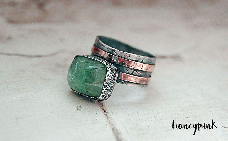 Купить Кольцо из серебра и золота с бериллом (изумруд) - зеленый, изумруд, берилл, кольцо с бериллом