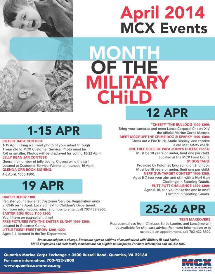 See what's going on during April's Month of the Military Child at your Quantico MCX!