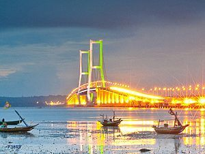 Sura-Madu Bridge connecting the Islands of Madura and Java at Surabaya; Indonesia's second largest city. Courtesy of Eneryoh.com