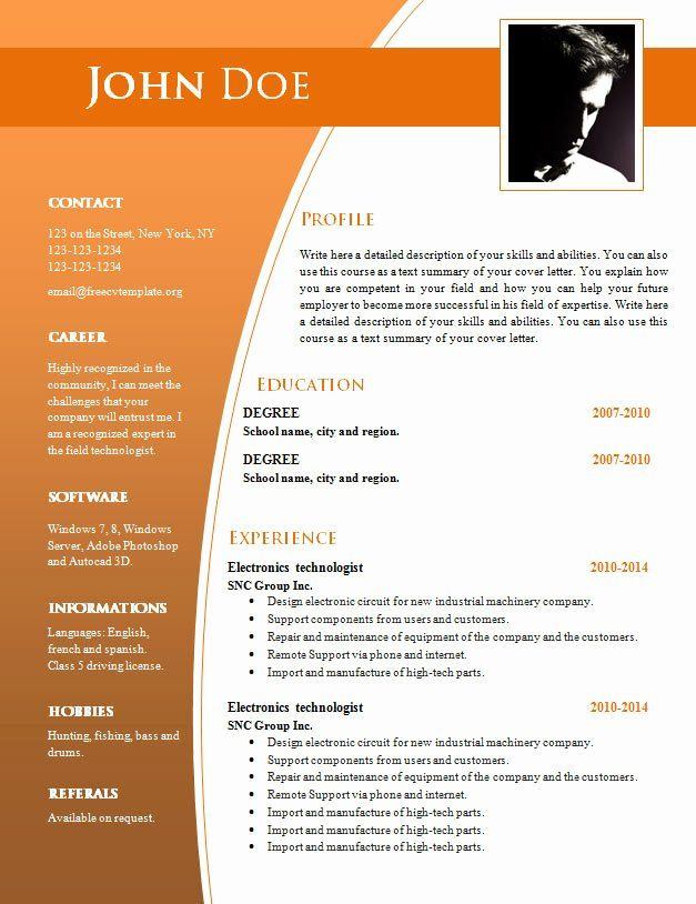 Resume Templates Free Word Elegant Cv Templates For Word Doc 632 638 Free Cv Te Free Resume Template Word Downloadable Resume Template Resume Template Word