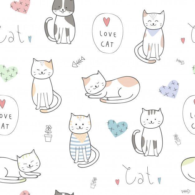 Cute Kitten Cat Cartoon Doodle Seamless Pattern Con Imagenes