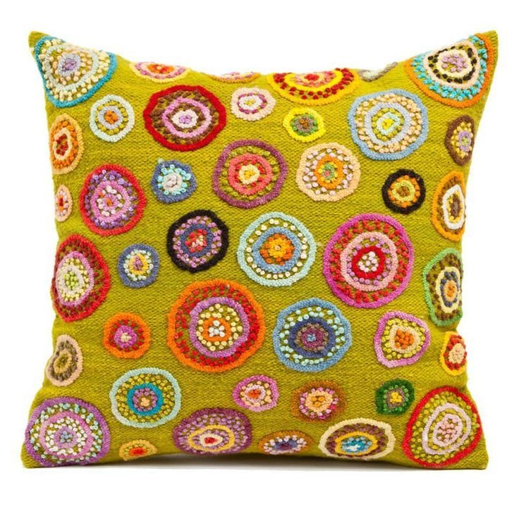 Peruvian Pillow – Traditional Peruvian embroidery meets contemporary color  What a great idea for DIY Decor - make a pillow and embellish with embroidery