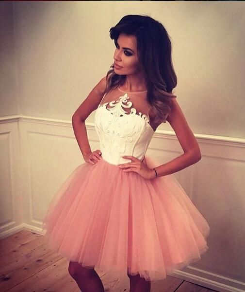 Pink tulle homecoming dress,applique homecoming dresses,short prom dress,cute