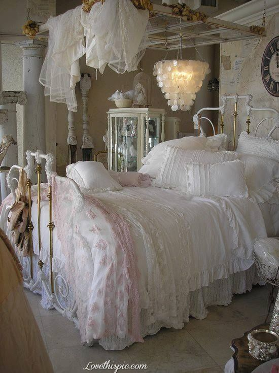 wonderful romantic shabby chic bedroom | Omg love the huge old window over the bed | window panes ...