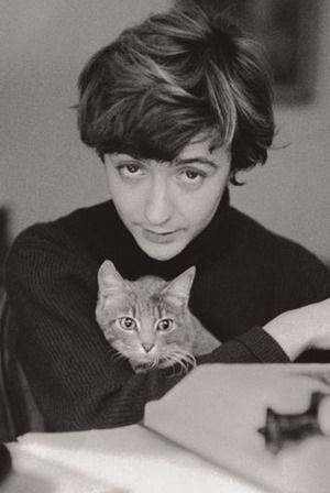 Françoise Sagan et son chat