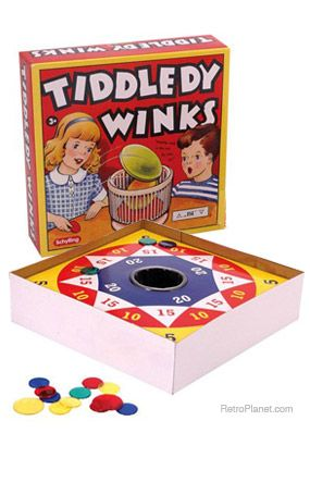 Tiddley Winks (Is that the way it was really spelled on the box?? We never called them tiddledy wins.. ha ha)