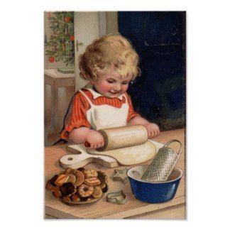 Vintage Christmas - Girl Baking Cookies Print