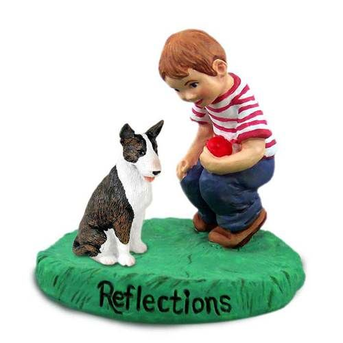 Bull Terrier Brindle with Boy Figurine