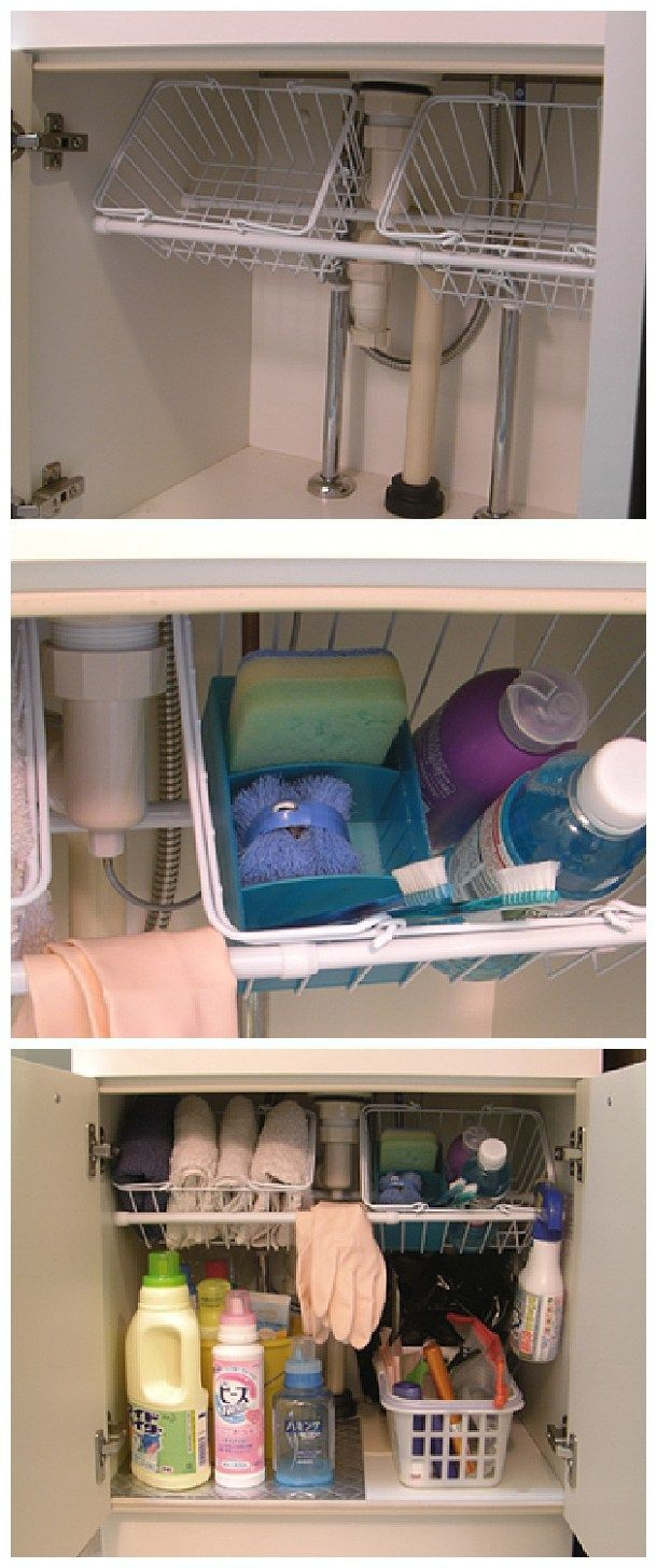 Easy Tips to Organize your Kitchen - Use small tension rods to hold wire baskets at an angle under the kitchen sink - Would work great in the bathroom too -  so cheap and so clever!