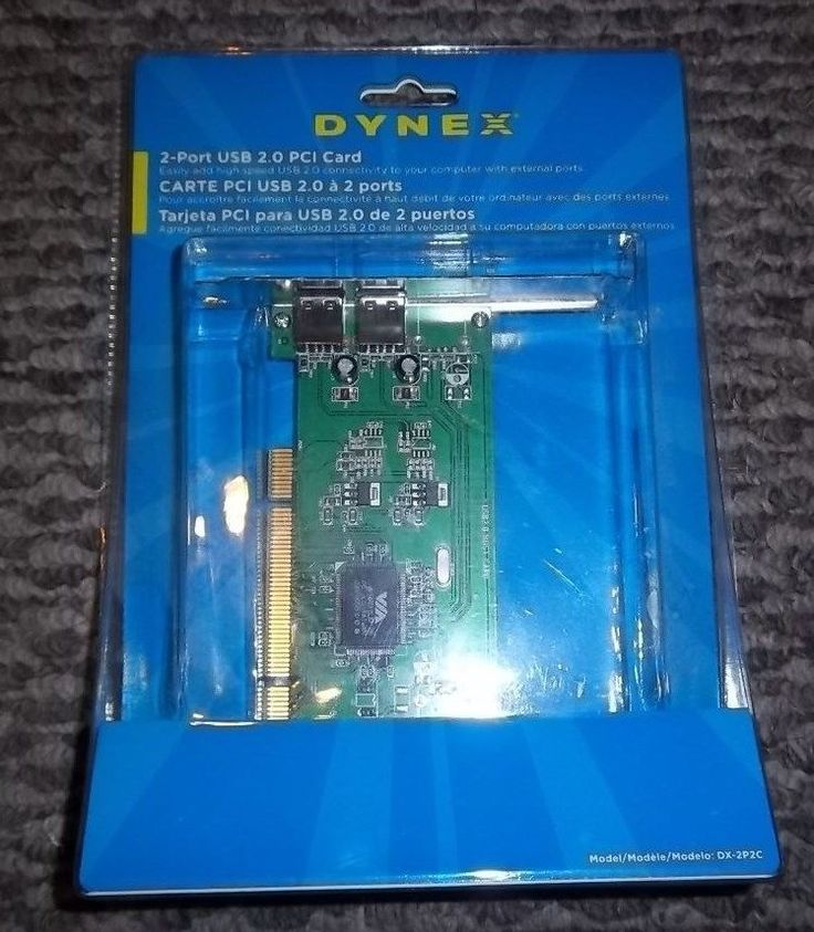 Dynex 2-Port USB 2.0 PCI Card DX-2P2C Up to 480 Mbps Supports plug-and-play  #Dynex