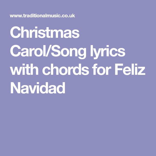 Christmas Carol/Song lyrics with chords for Feliz Navidad