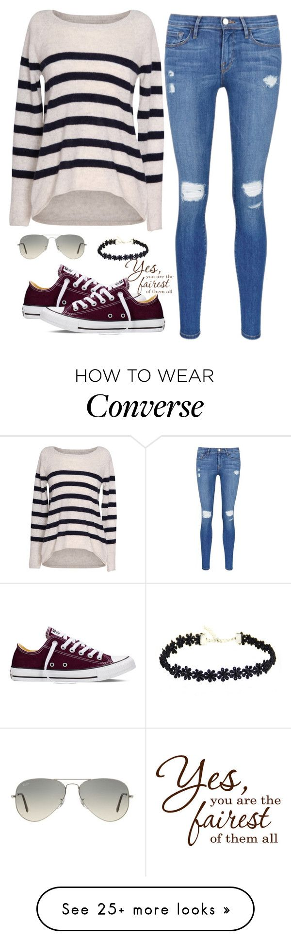 """""""stripes are ripe."""" by lalatheawesome on Polyvore featuring Velvet by Graham & Spencer, Frame Denim, Converse, Ray-Ban, women's clothing, women's fashion, women, female, woman and misses"""