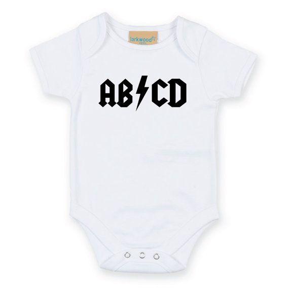 ABCD Rock Baby Onesie. ACDC Parody Baby Grow. Baby Bodysuit. Newborn Gift. Baby Shower Gift. Funny Baby Grow.