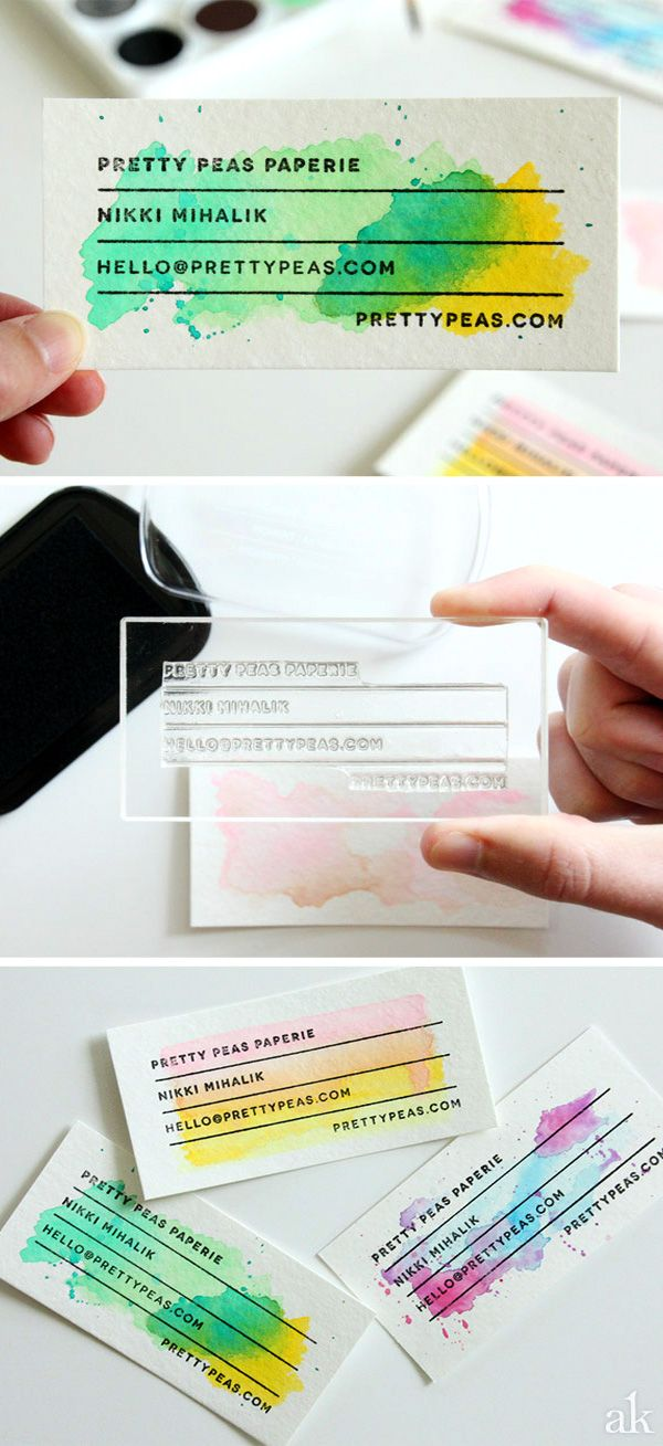DIY Watercolor Business Cards Gallery: Plus Quick Tips on Making Your Own || Stamped watercolor DIY business cards designed by Akula