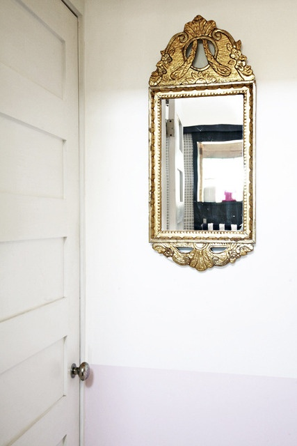 LOVE an ornate gold mirror in a cottage home.....Bergman_018_rect640
