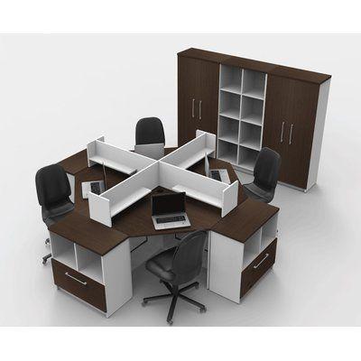 TeamCENTERoffice Triangular Corner 14 Piece L-Shaped Desk Office Suite