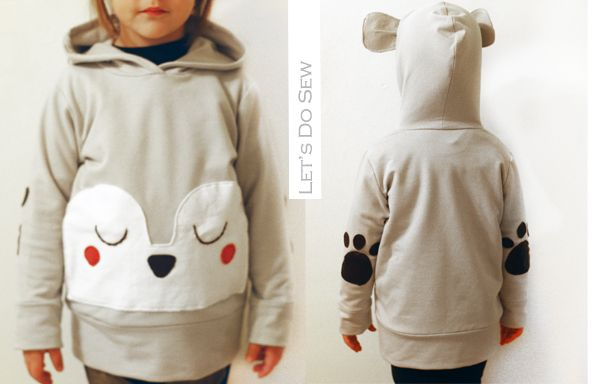 super cute bear hoodie tutorial and free pattern by @Celina Bailey for elegance & elephants