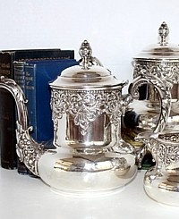 Antique Victorian Quadruple Silver Plate Repousse Tea Set-tea, pot, creamer,high,floral,ornate,middletown,monogram