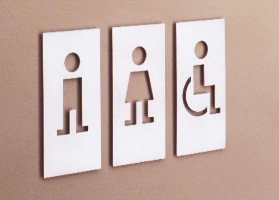 M114 SIRIA WC Signage designed by JM Massana + Tremoleda
