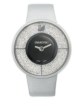 Swarovski Watch, Women's Swiss Crystalline Silver Tone Structured Fabric Strap 40mm - Swarovski - Jewelry & Watches - Macy's