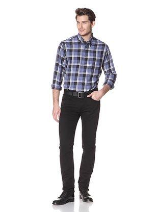 Viyella Men's Long Sleeve Plaid Shirt with Button-Down Collar