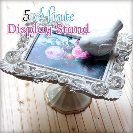 DIY Easy Pedestal Stand....The Cottage Market.....a candle stick, cute frame with graphic of your choice and putty.  Very fun !