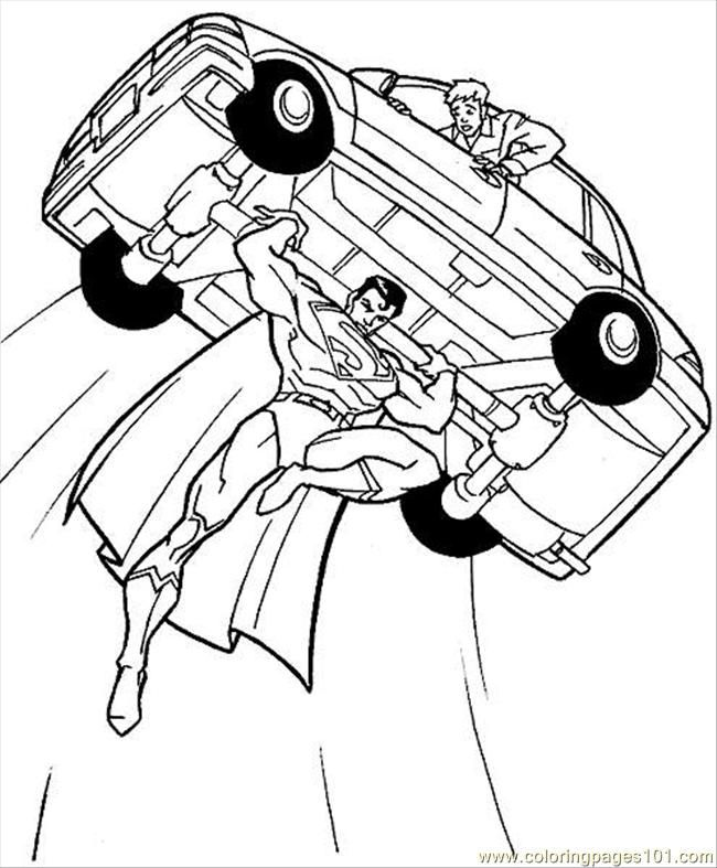 Superman fly with bring car coloring pages super hero coloring pages kidsdrawing free coloring pages online