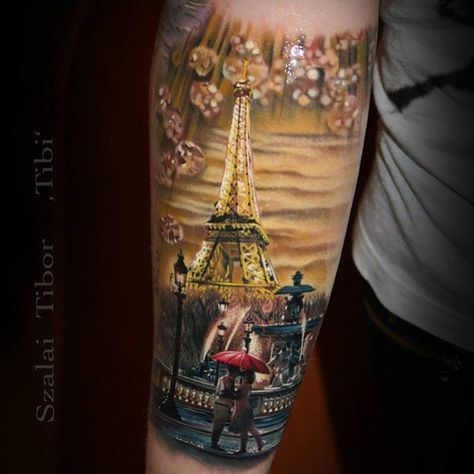 Paris Eiffel Tower love romance tattoo Beautiful work by Szalai Tibor Tibi - @tibitattooart on collector @christinazipfel #savemyink Done at Tattoo Convention Dortmund.