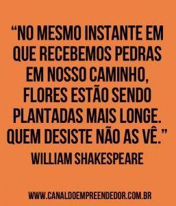 """""""No mesmo instante em que recebemos pedras em nosso caminho, flores estão sendo plantadas mais longe. Quem desiste não as vê."""" - William Shakespeare:"""